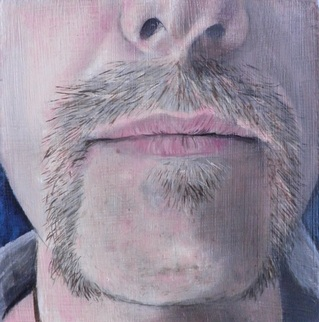Muse 4.2, Oil painting on board by Lee Devonish, 2012 | horseshoe moustache painting