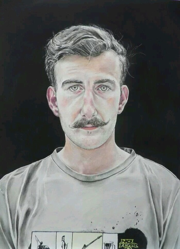 Fearless John, watercolour painting by Lee Devonish, 2011 | handlebar moustache painting