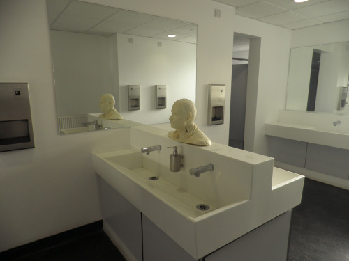 Use Him - Day 1. Cast soap sculpture installed in women's toilets, Richard Hoggatt building, Goldsmiths UoL.