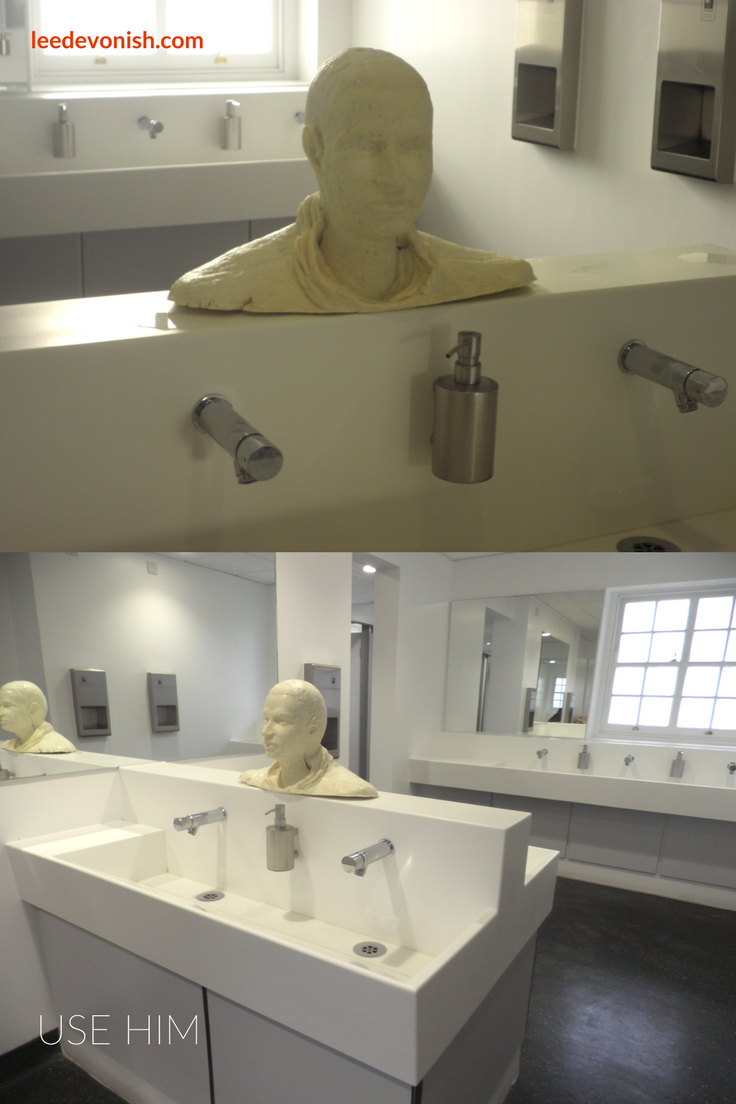 Use Him was a soap sculpture installed in a women's toilet at Goldsmiths in 2013.