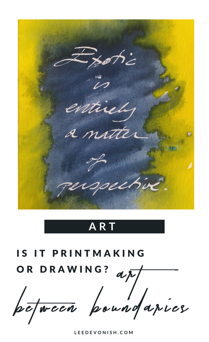 Print drawings are the overlap between drawing, handwriting, painting and printmaking. The printmaking or drawing process involves repetition and creates art between boundaries.