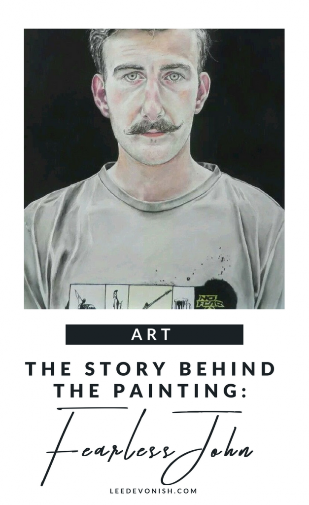 The story behind this painting: Fearless John | watercolour handlebar moustache painting | portrait of a man
