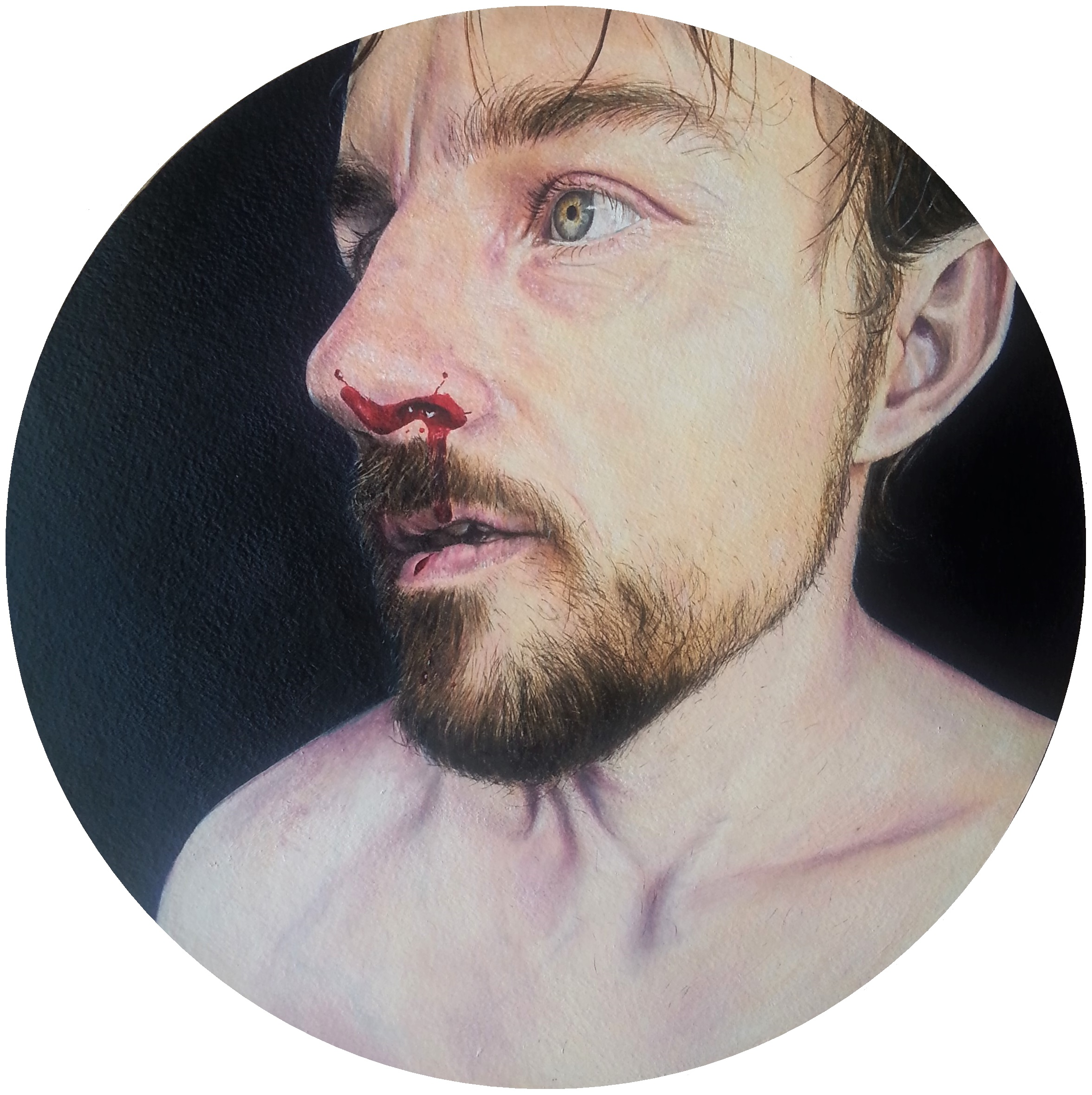 Fight, oil on paper painting by Lee Devonish, 2016. Masculinity and vulnerability.