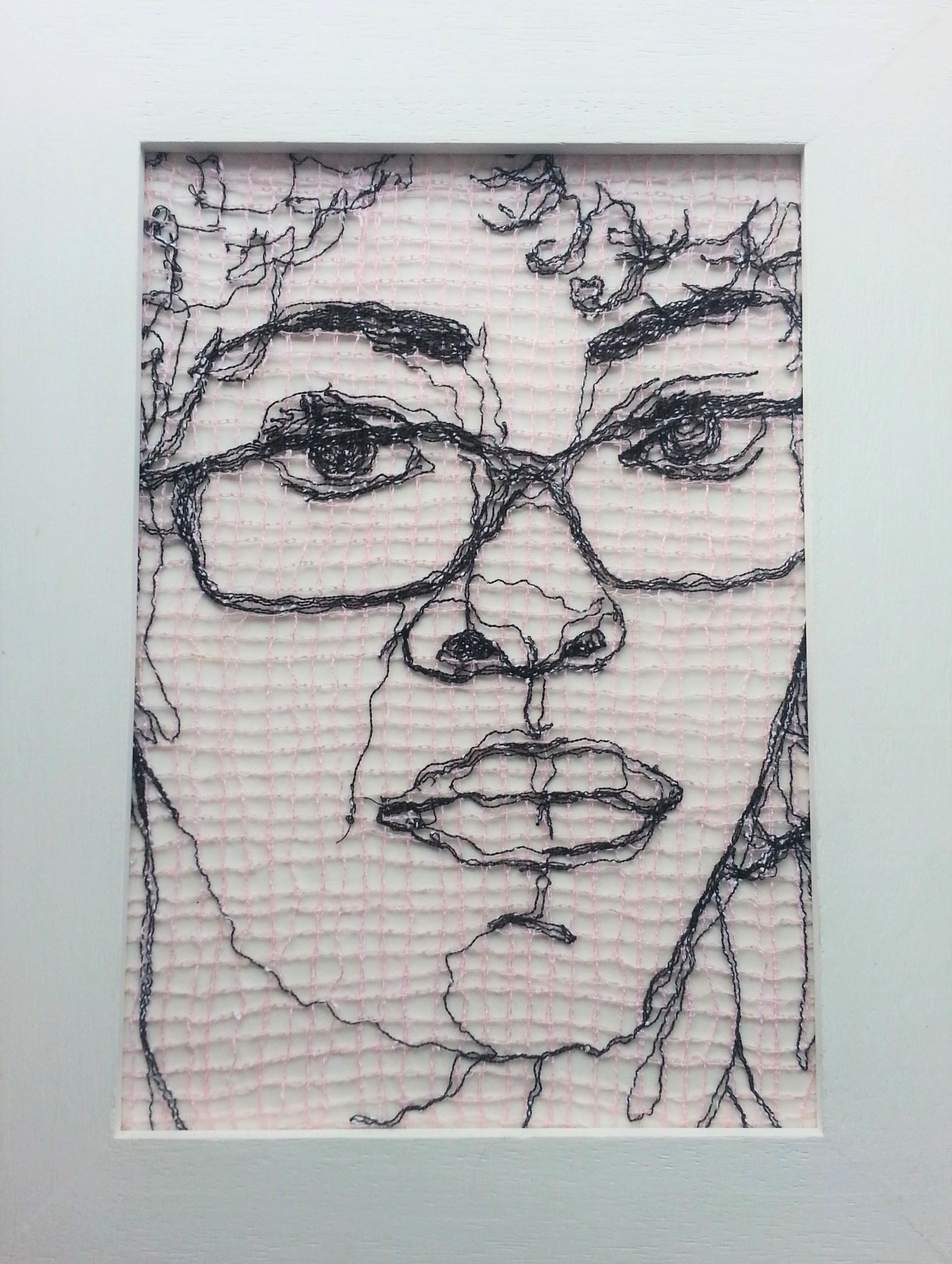 Precedent, 2011 by Lee Devonish. Machine stitched thread drawing.