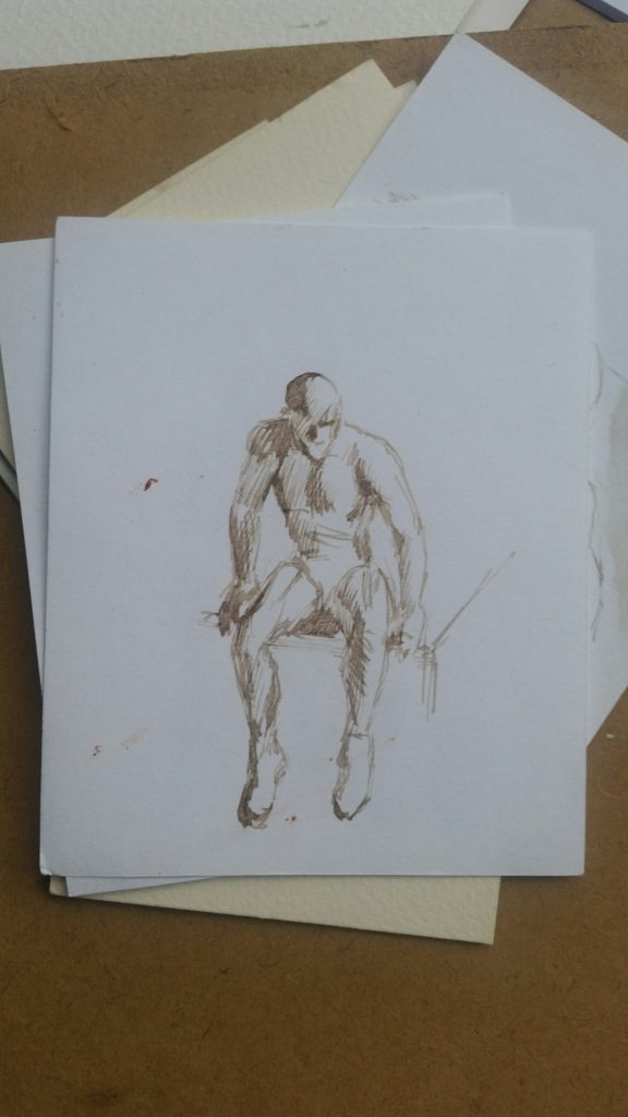 Figure drawing made with homemade walnut ink.
