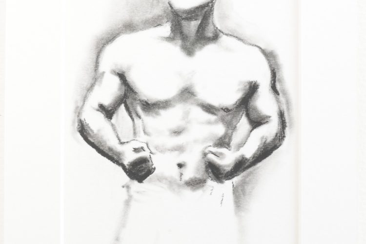 Muscle Study 5 by Lee Devonish. A charcoal drawing of a cropped male torso.