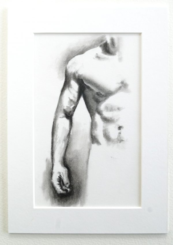 Muscle Study 4 - a charcoal drawing of the right side of a man's torso, with the arm, hand, pectorals, shoulder and abdomen visible.