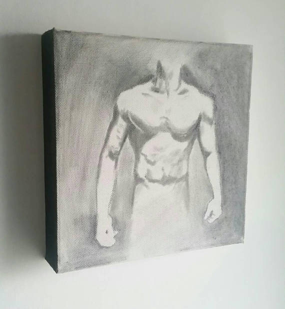 Body 1 - Charcoal and graphite pencil drawing on canvas