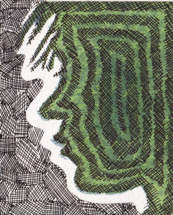 Maze, 2011. Woodblock print with drawing.