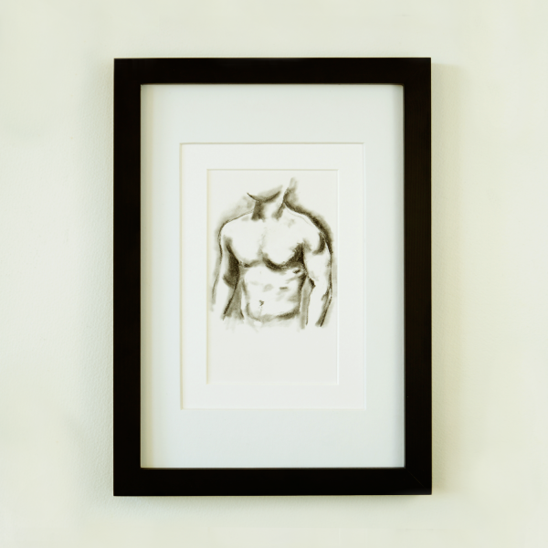 Muscle study 3 | charcoal sketch of a male figure
