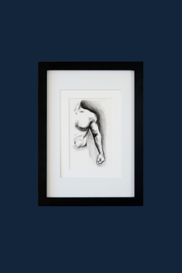 Muscle Study 6 is a charcoal drawing of the left side of a male torso. The composition includes the hand, arm and left side of a man's torso.