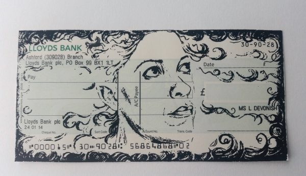 Promise 15/25, 2017. Screen print on cheque.