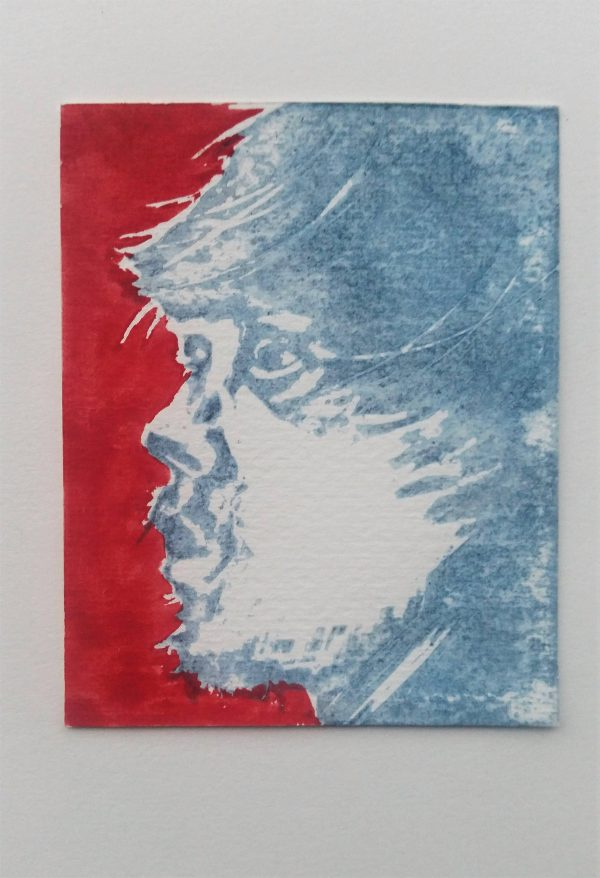 Wild Man (red print) 2/5. Stencil and woodcut print