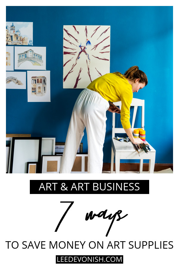Woman painting in blue studio | 7 ways to save money on art supplies | Lee Devonish