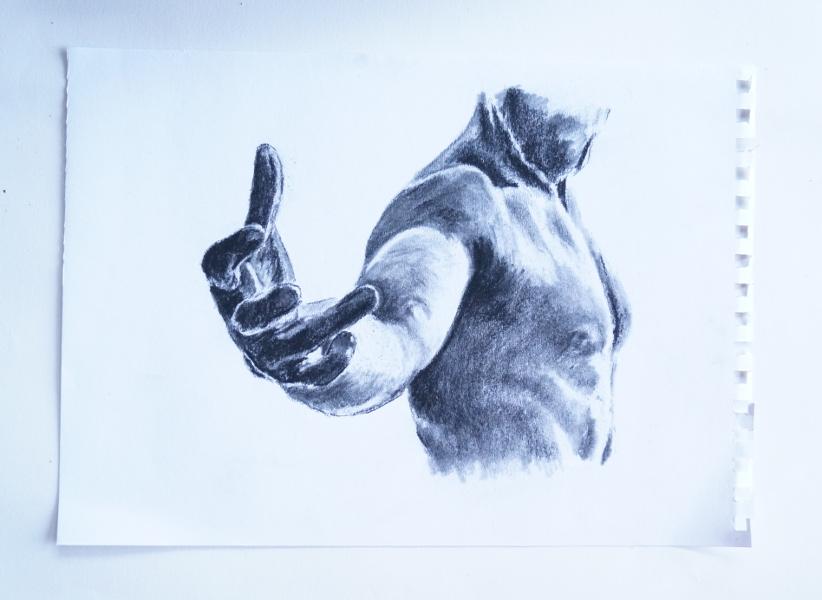 Charcoal figure drawing of man's hand reaching toward viewer | Lee Devonish