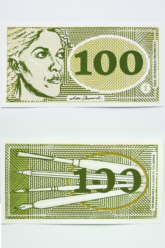 100. Double sided screen printed banknote.