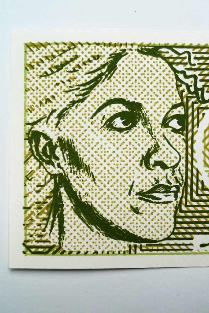 Front of banknote, portrait detail.