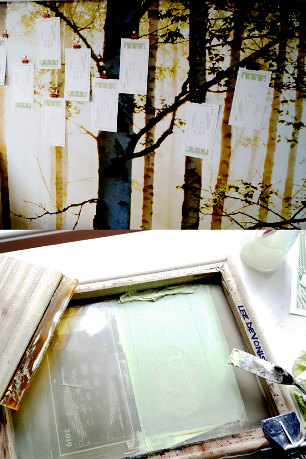 Screen printing and drying prints with bulldog clips