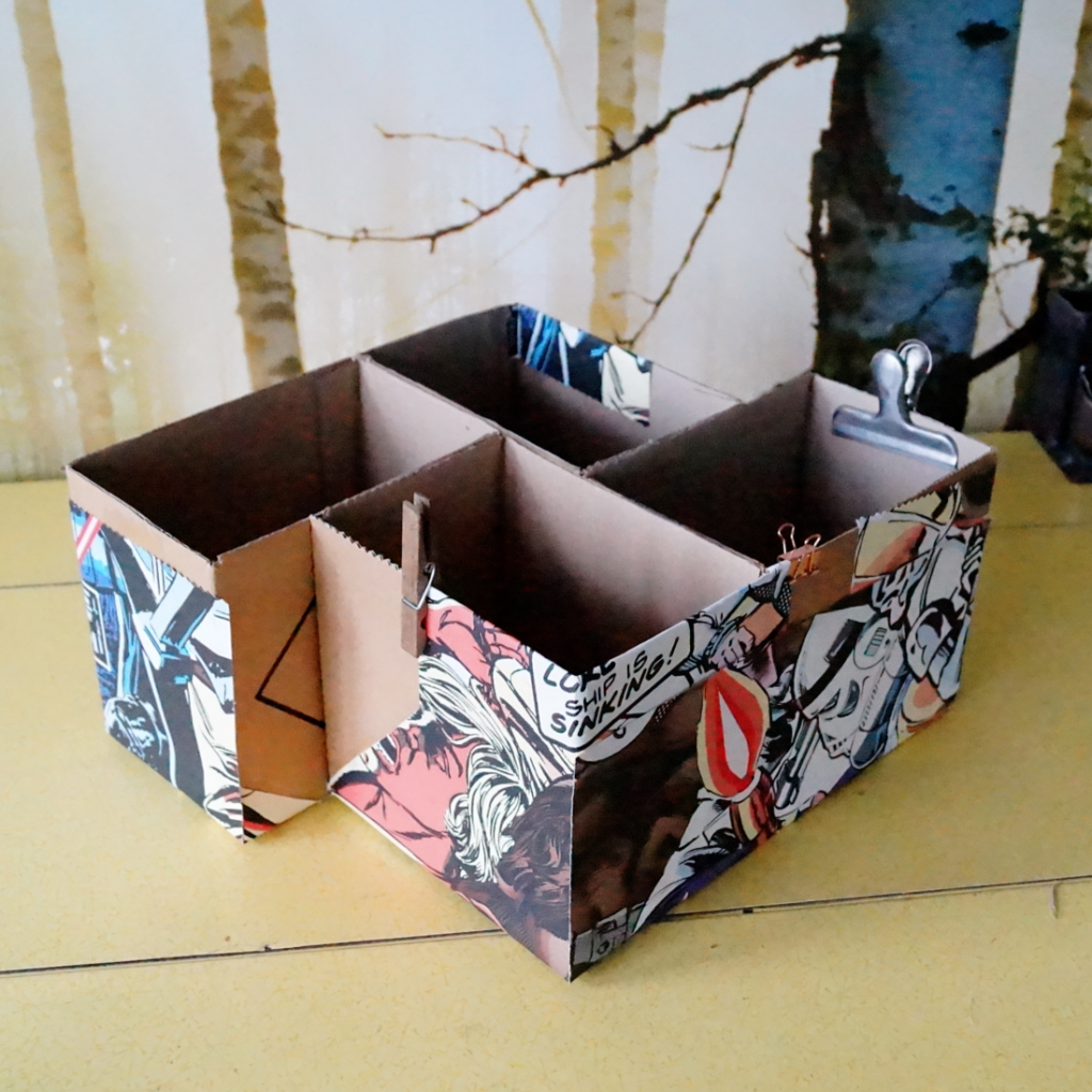 making a cardboard box storage system