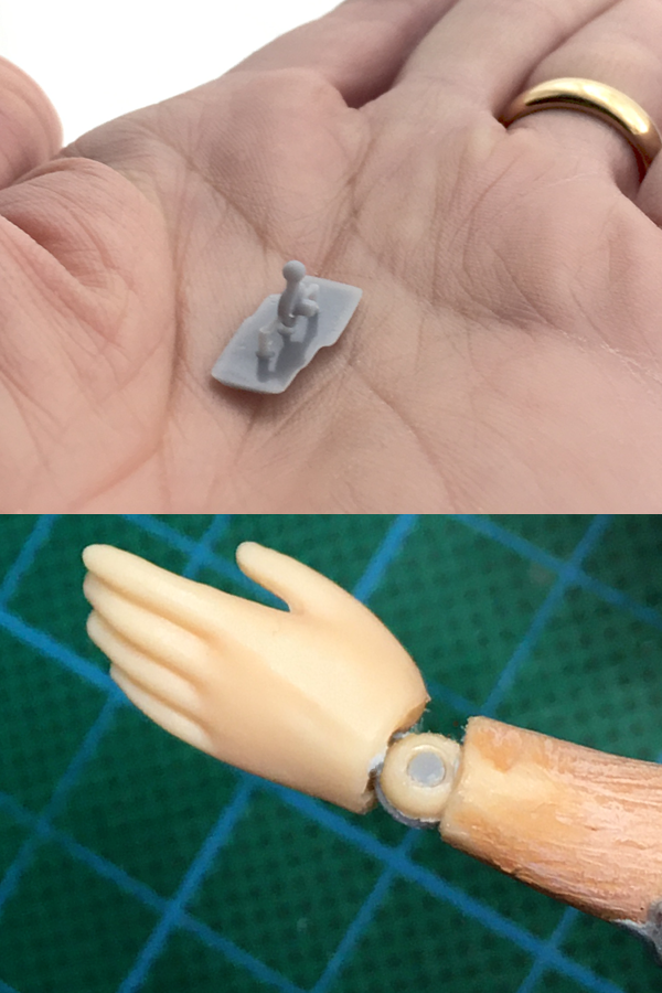 Custom designed 3D printed articulated figure wrist joint