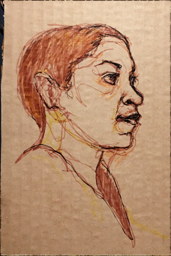 portrait of the week #8 - marker on cardboard