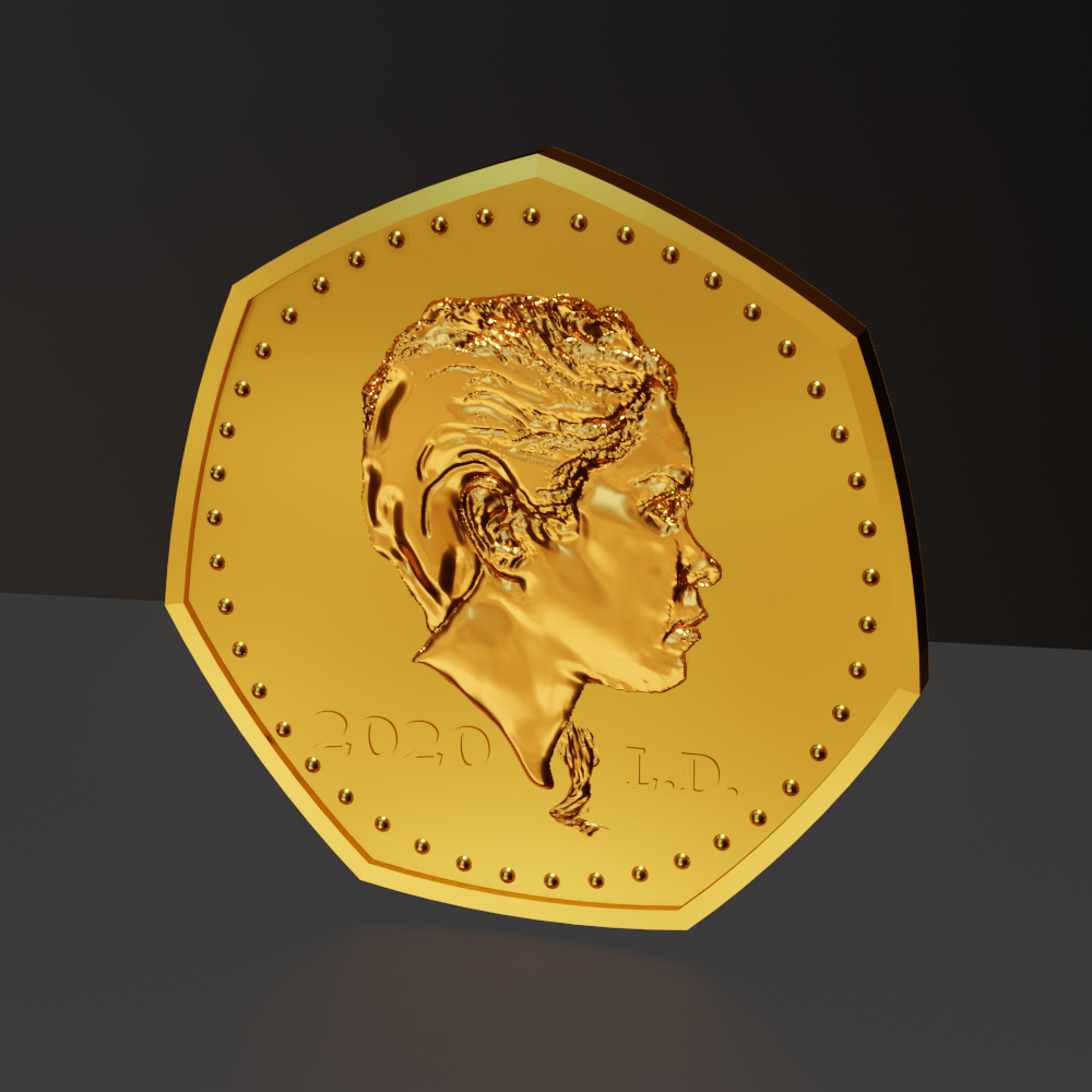 Render of gold coin with low relief portrait made with lithophane